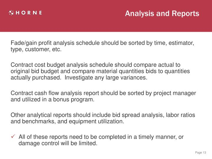 Analysis and Reports