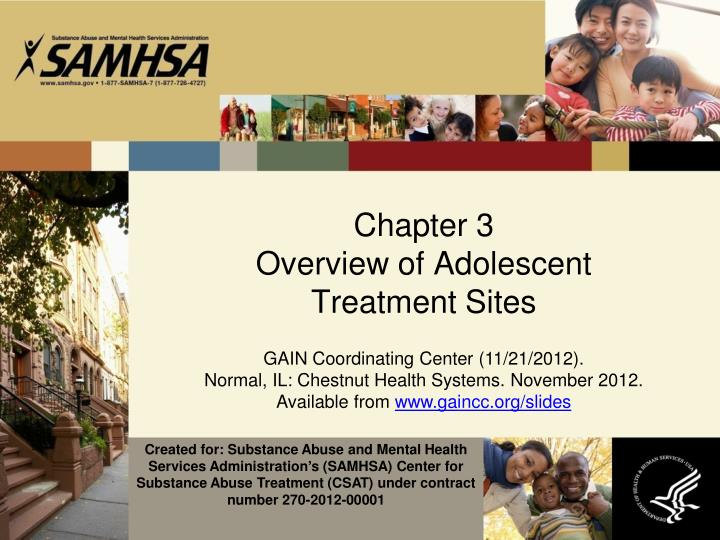 chapter 3 overview of adolescent treatment sites n.