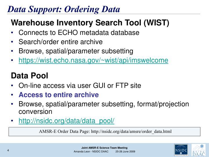Data Support: Ordering Data