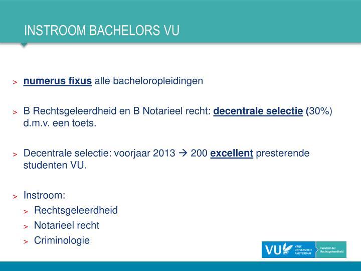Instroom bachelors vu