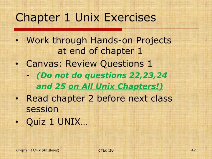 Chapter 1 Unix Exercises