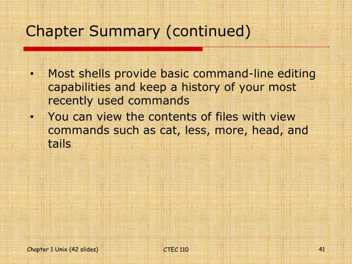 Chapter Summary (continued)