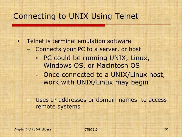 Connecting to UNIX Using Telnet