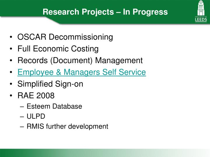 Research Projects – In Progress