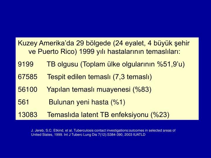 Kuzey Amerika'da 29 bölgede (24 eyalet, 4 büyük şehir ve Puerto Rico) 1999 yılı hastalarının temaslıları: