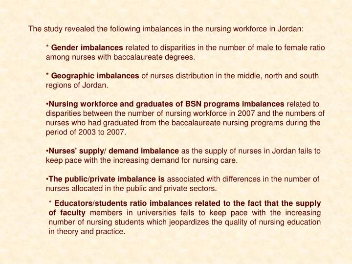 The study revealed the following imbalances in the nursing workforce in Jordan: