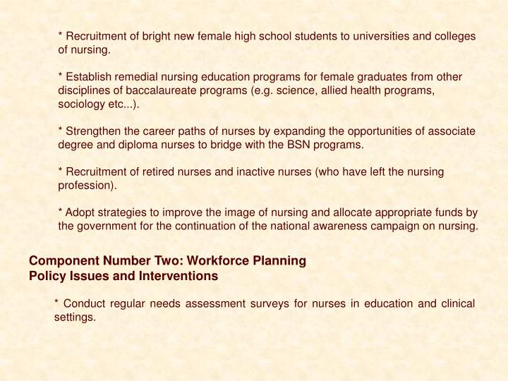 * Recruitment of bright new female high school students to universities and colleges of nursing.
