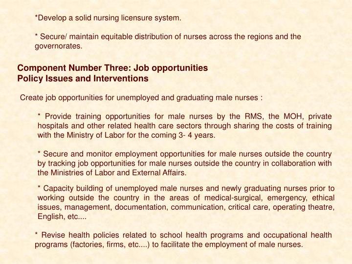 *Develop a solid nursing licensure system.