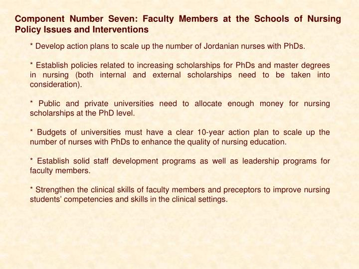 Component Number Seven: Faculty Members at the Schools of Nursing Policy Issues and Interventions