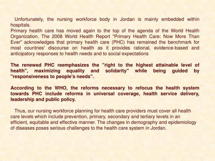 Unfortunately, the nursing workforce body in Jordan is mainly embedded within hospitals.