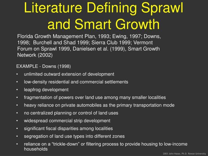 Literature Defining Sprawl and Smart Growth