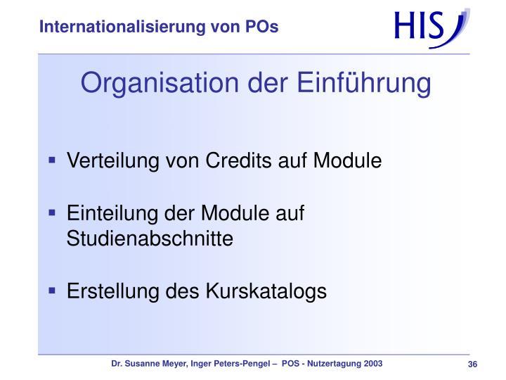 Organisation der Einführung