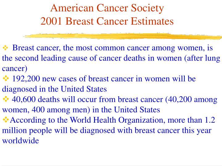American cancer society 2001 breast cancer estimates