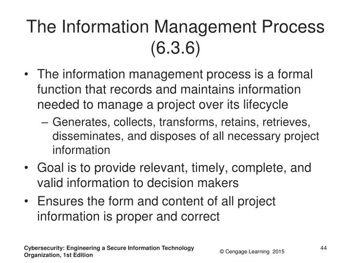 The Information Management Process (6.3.6)