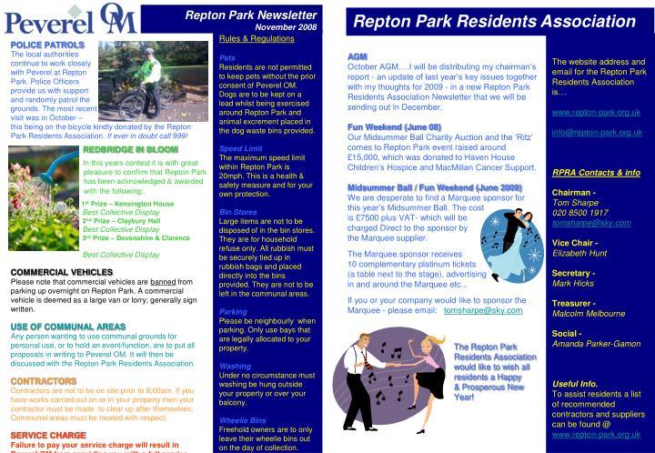 Repton Park Newsletter