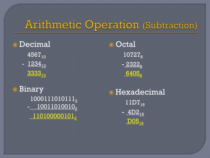 Arithmetic Operation