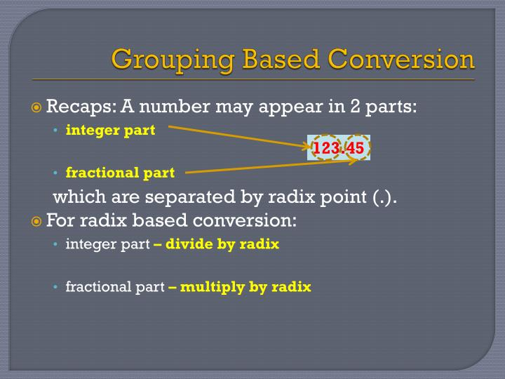 Grouping Based Conversion