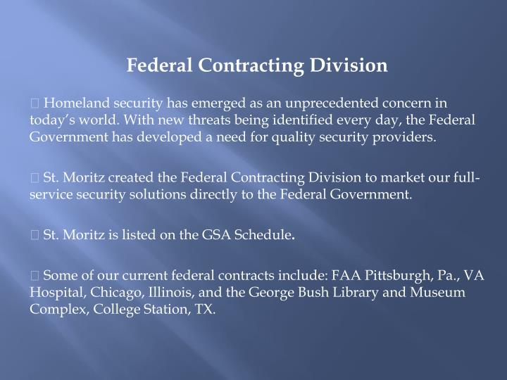 Federal Contracting Division