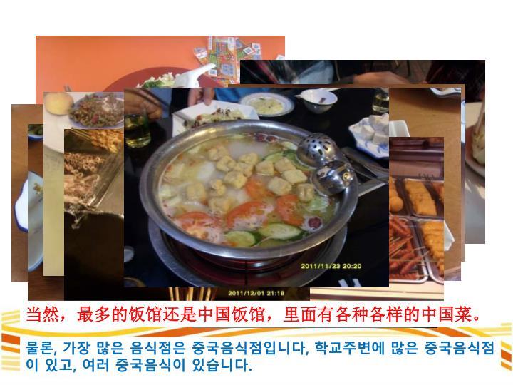 当然,最多的饭馆还是中国饭馆,里面有各种各样的中国菜。