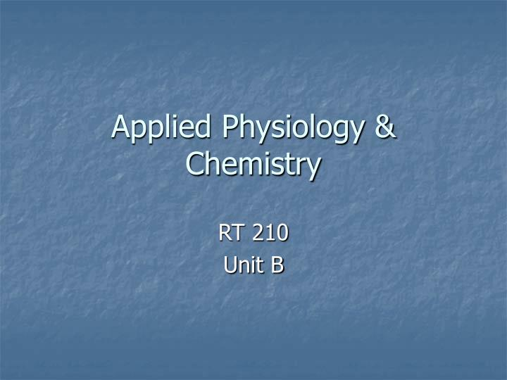 Applied physiology chemistry