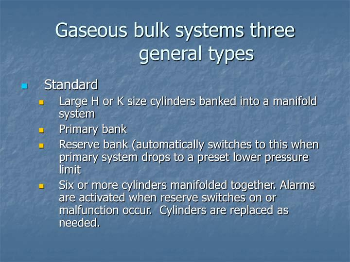 Gaseous bulk systems three general types