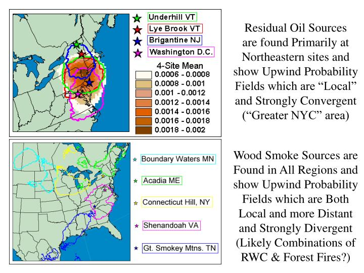 "Residual Oil Sources    are found Primarily at Northeastern sites and show Upwind Probability Fields which are ""Local""   and Strongly Convergent (""Greater NYC"" area)"