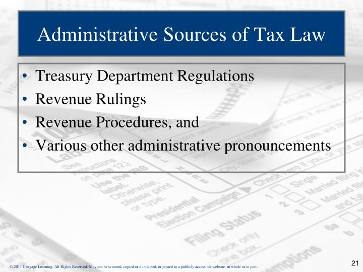 Administrative Sources of Tax Law