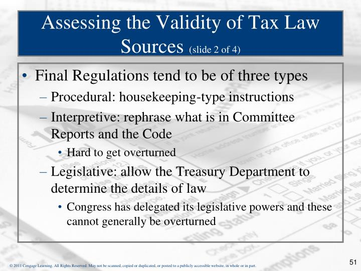 Assessing the Validity of Tax Law Sources