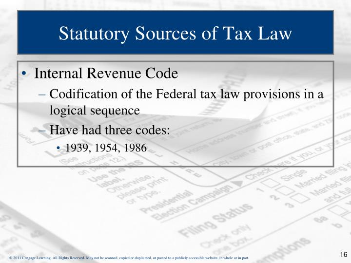 Statutory Sources of Tax Law