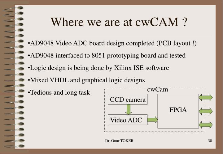 Where we are at cwCAM ?