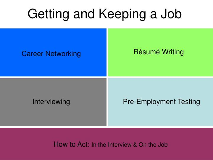 getting and keeping a job n.