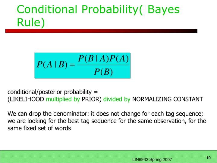 Conditional Probability( Bayes Rule)