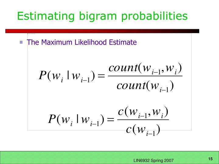 Estimating bigram probabilities
