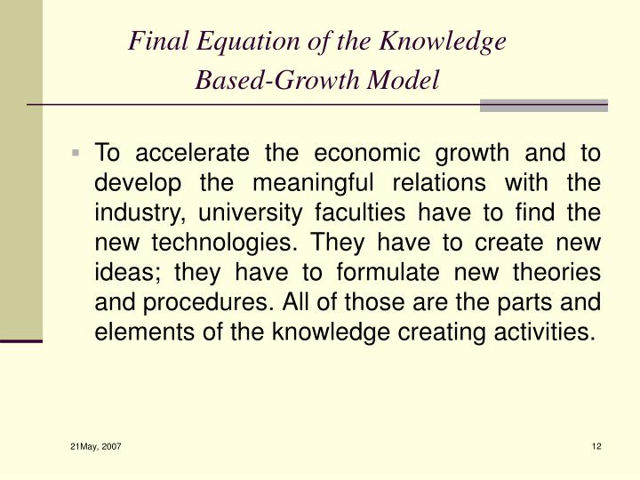 Final Equation of the Knowledge Based-Growth Model