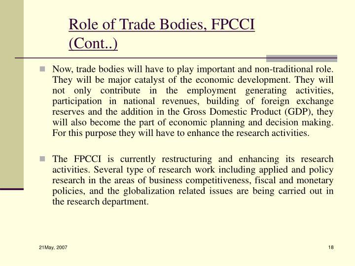 Role of Trade Bodies, FPCCI (Cont..)
