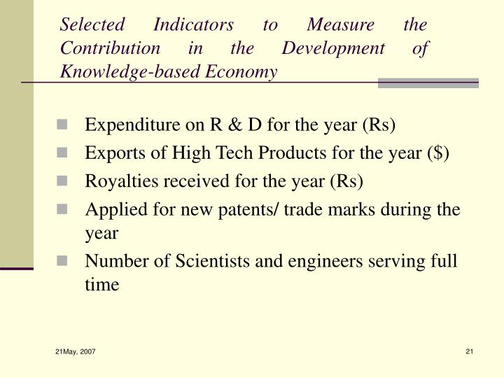 Selected Indicators to Measure the Contribution in the Development of Knowledge-based Economy