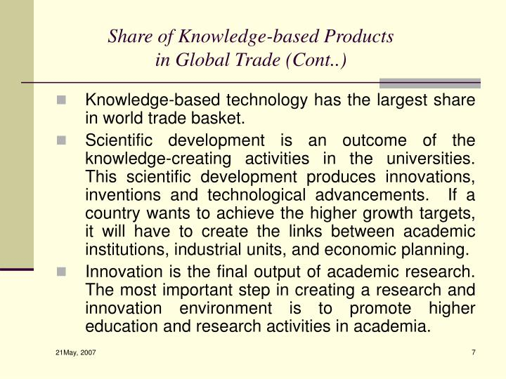 Share of Knowledge-based Products in Global Trade (Cont..)
