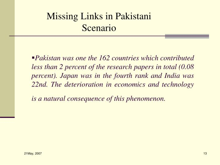 Pakistan was one the 162 countries which contributed less than 2 percent of the research papers in total (0.08 percent). Japan was in the fourth rank and India was 22nd. The deterioration in economics and technology is a natural consequence of this phenomenon.