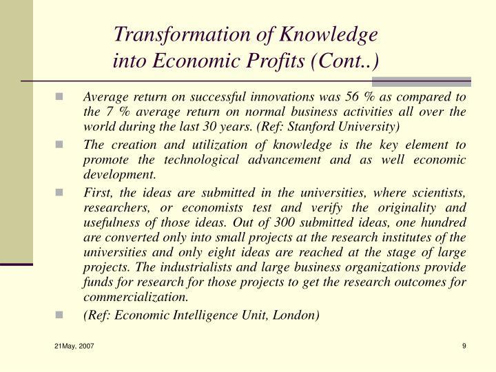 Transformation of Knowledge into Economic Profits (Cont..)
