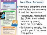 new deal recovery