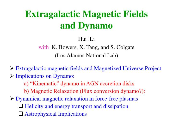 extragalactic magnetic fields and dynamo n.