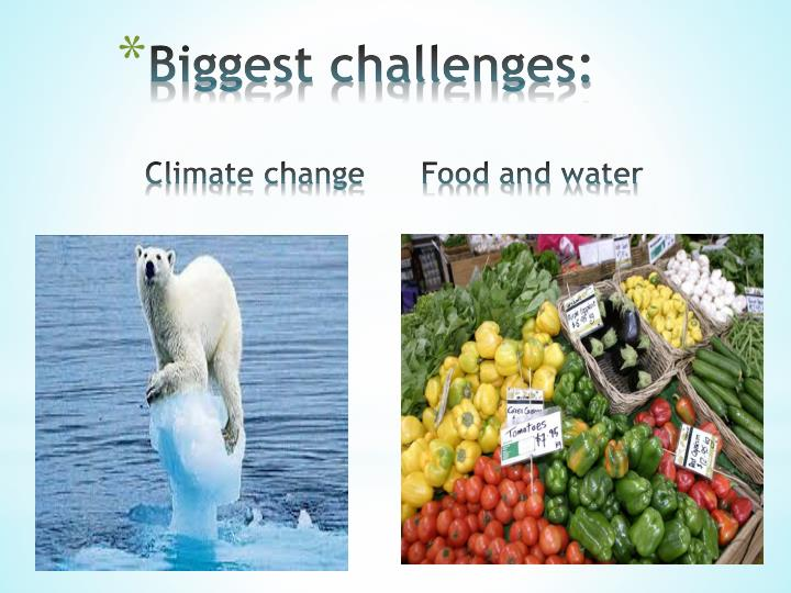 Biggest challenges climate change food and water
