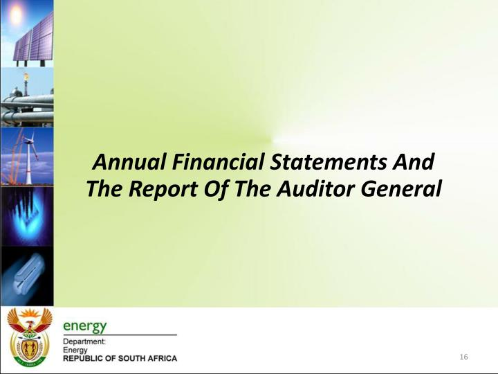 Annual Financial Statements And The Report Of The Auditor General