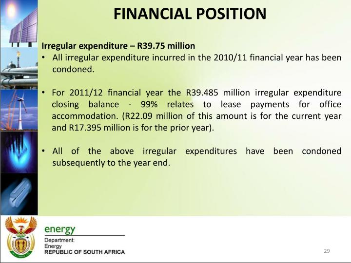 Irregular expenditure – R39.75 million
