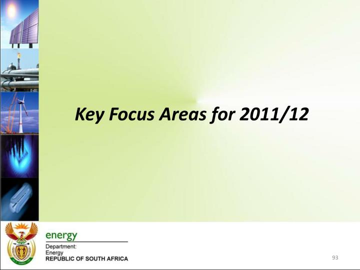 Key Focus Areas for 2011/12