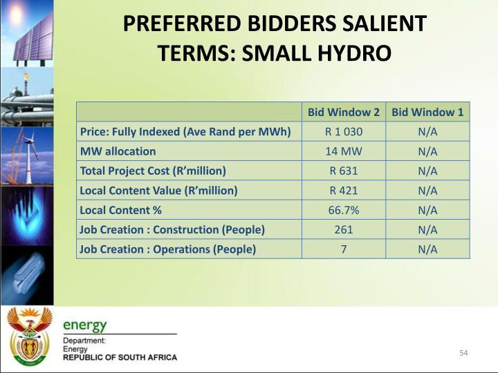 PREFERRED BIDDERS SALIENT TERMS: SMALL HYDRO