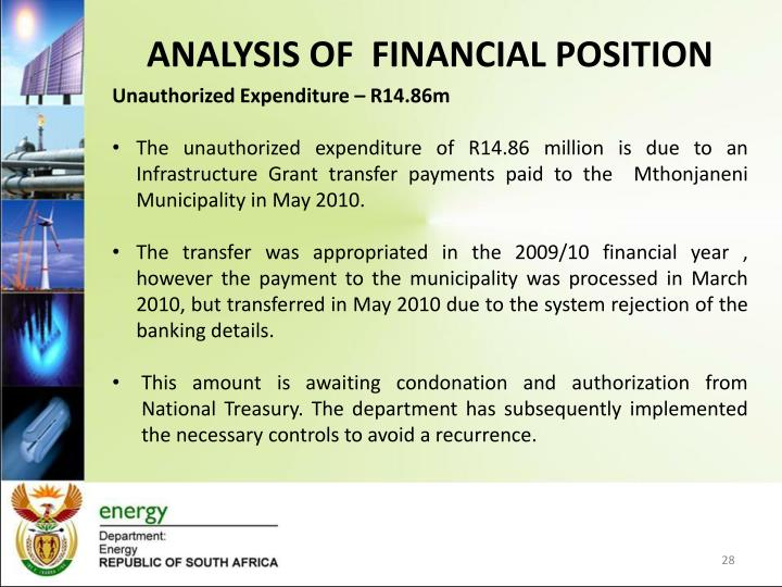 Analysis of  financial position