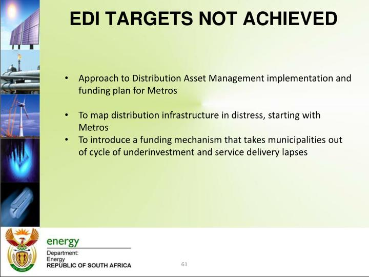EDI TARGETS NOT ACHIEVED