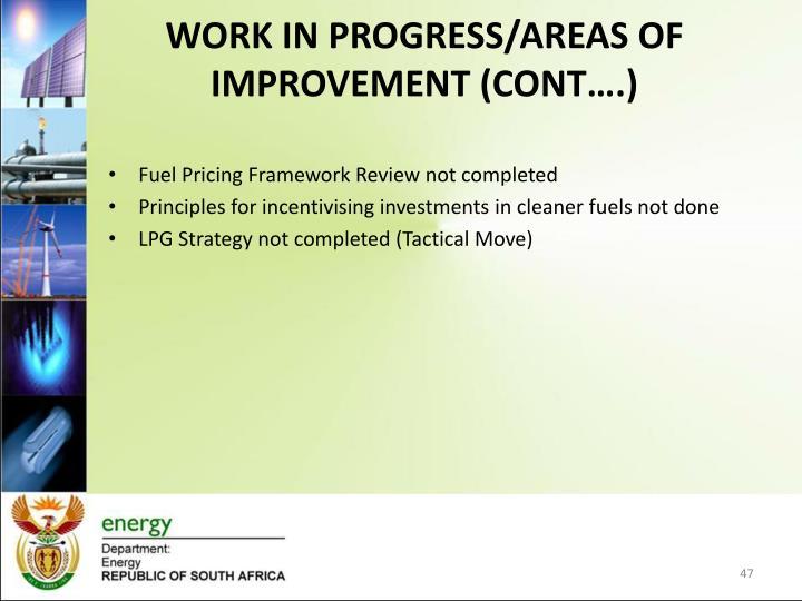 WORK IN PROGRESS/AREAS OF IMPROVEMENT (CONT….)