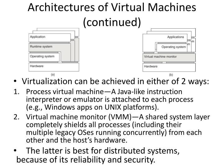 Architectures of Virtual Machines (continued)